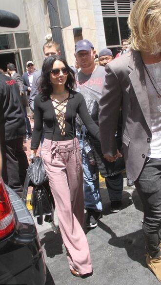bodysuit lace up vanessa hudgens pants wide-leg pants