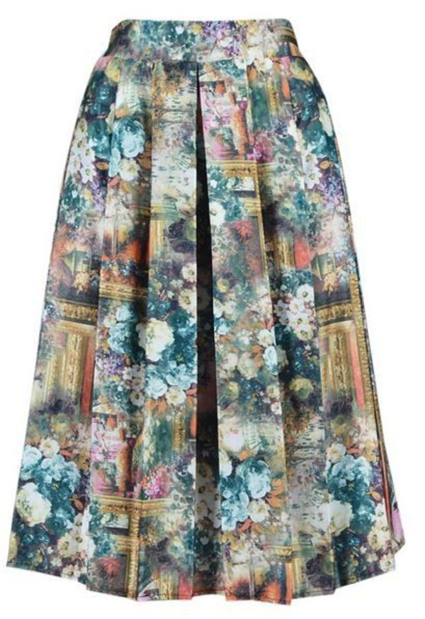 oil painting printed skirt elastic waist skirt pleated skirt midi skirt high waist skirt muted color skirt www.ustrendy.com