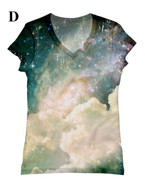 t-shirt galaxy print cloudy sky t-shirt
