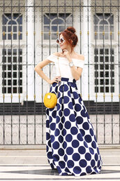 fashion coolture,blogger,top,skirt,maxi skirt,yellow bag,round bag,off the shoulder top,spring outfits