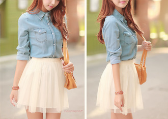 shirt bag skirt cream skirt jeans high waisted skirt flowy skirt spring look petite cute shot dress