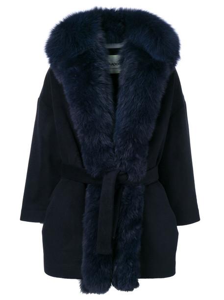 AVA ADORE coat fur fox women blue