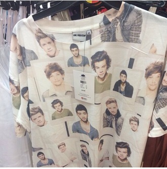 t-shirt one direction white harry styles niall horan zayn malik liam payne louis tomlinson