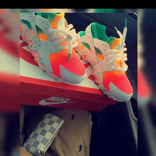 detailed look 10b3e 5999b Tie dye Neon Nike Air Huarache customs. Unisex.