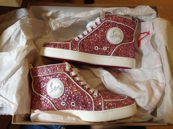 shoes louboutin glitter pink