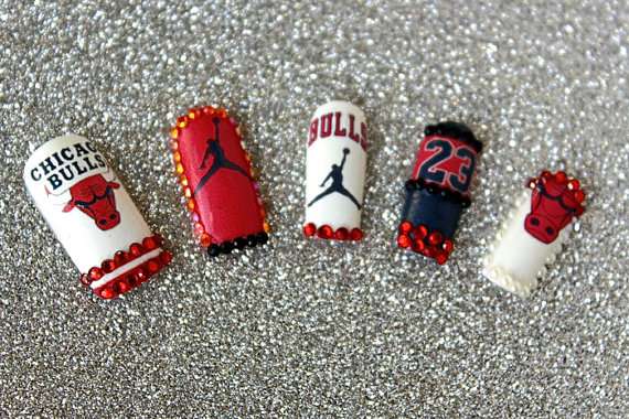 Jordan Chicago Bulls Love & Basketball Nail Decals - Waterslide Transfers For Your Talons