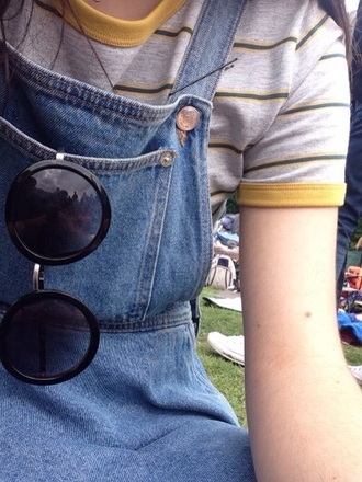 top striped top yellow top indie tumblr tumblr outfit sunglasses t-shirt
