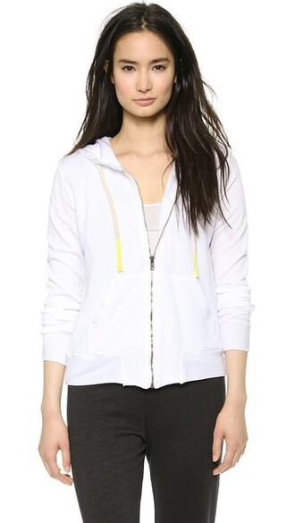 hoodie zip classic white sweater