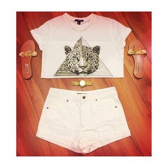necklace high waisted shorts watch triangle