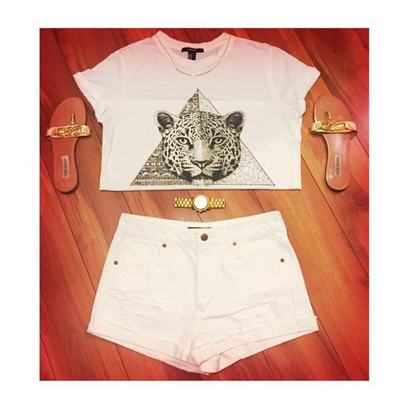 High waisted shorts watch necklace triangle