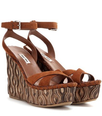 sandals wedge sandals suede gold shoes