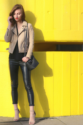 venka vision blogger leather leggings suede jacket crossbody bag nude heels bershka