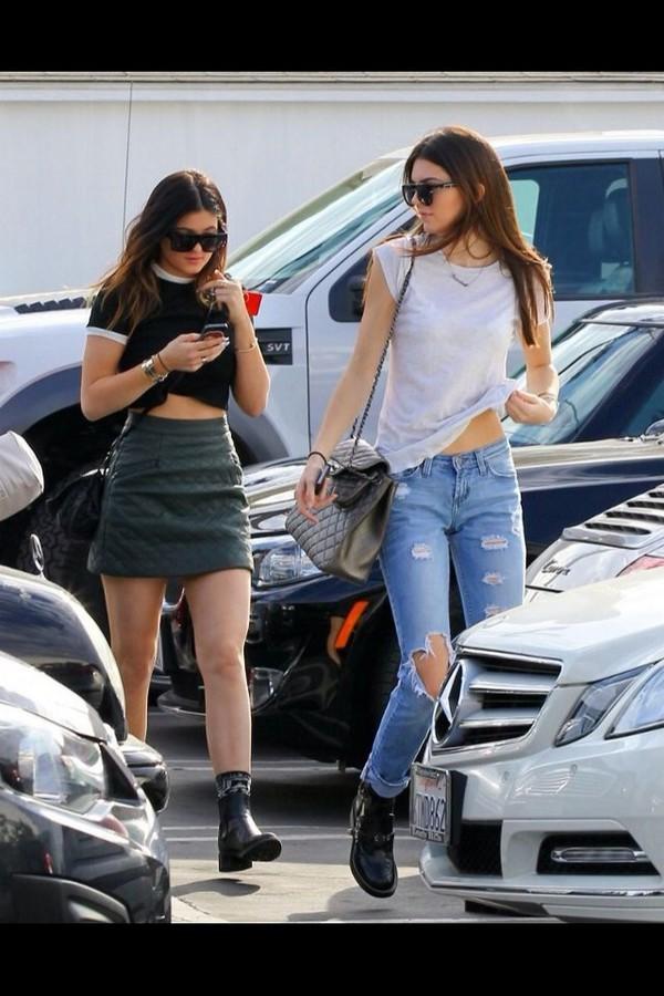 jeans kendall jenner kylie jenner skirt