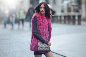 carolina krews blogger bag pink faux fur sweater dress winter outfits jacket dress