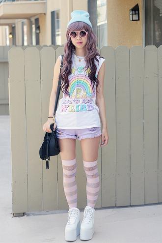 fancy giraffe shirt shorts shoes jewels hat pastel goth soft grunge pastel kawaii unicorn rainbow harajuku t-shirt