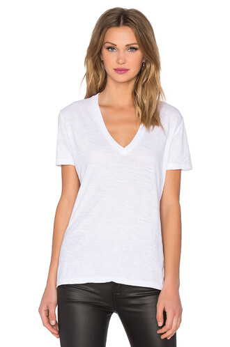 oversized v neck white