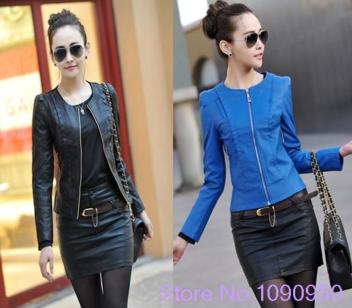 2014 spring women's leather clothing female short design slim o-neck PU motorcycle leather jacket coat WT4080 | Amazing Shoes UK