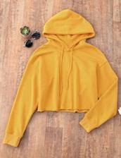 sweater,girly,sweatshirt,hoodie,yellow,mustard sweater,crop,cropped,cropped sweater