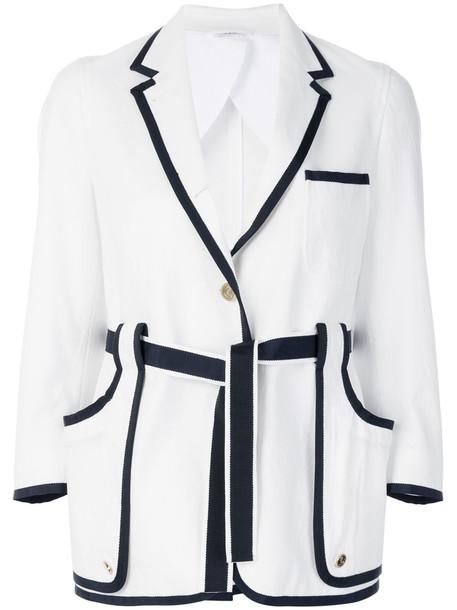 Thom Browne blazer women white cotton jacket