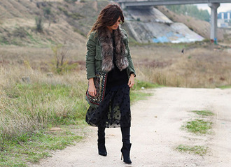 madame rosa blogger jacket polka dots see through black boots faux fur jacket