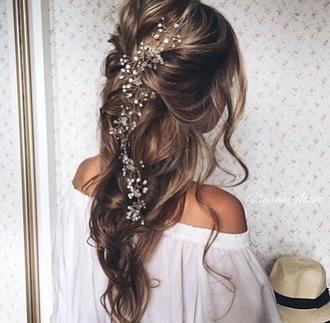hair accessory flowers hair curled hair flowers in hair