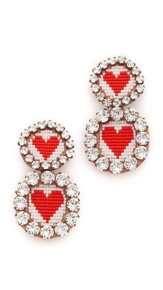 heart earrings white red jewels