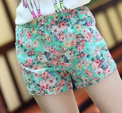 Outletpad | Floral Elastic High Waist Pants Shorts Mini Trouser Green | Online Store Powered by Storenvy