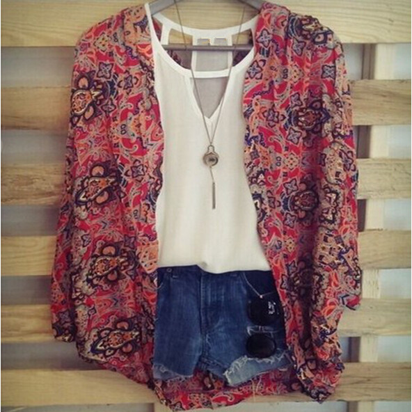 2015 hot selling fashion women red print long sleeves casual girls clothing cardigan shirt blouse