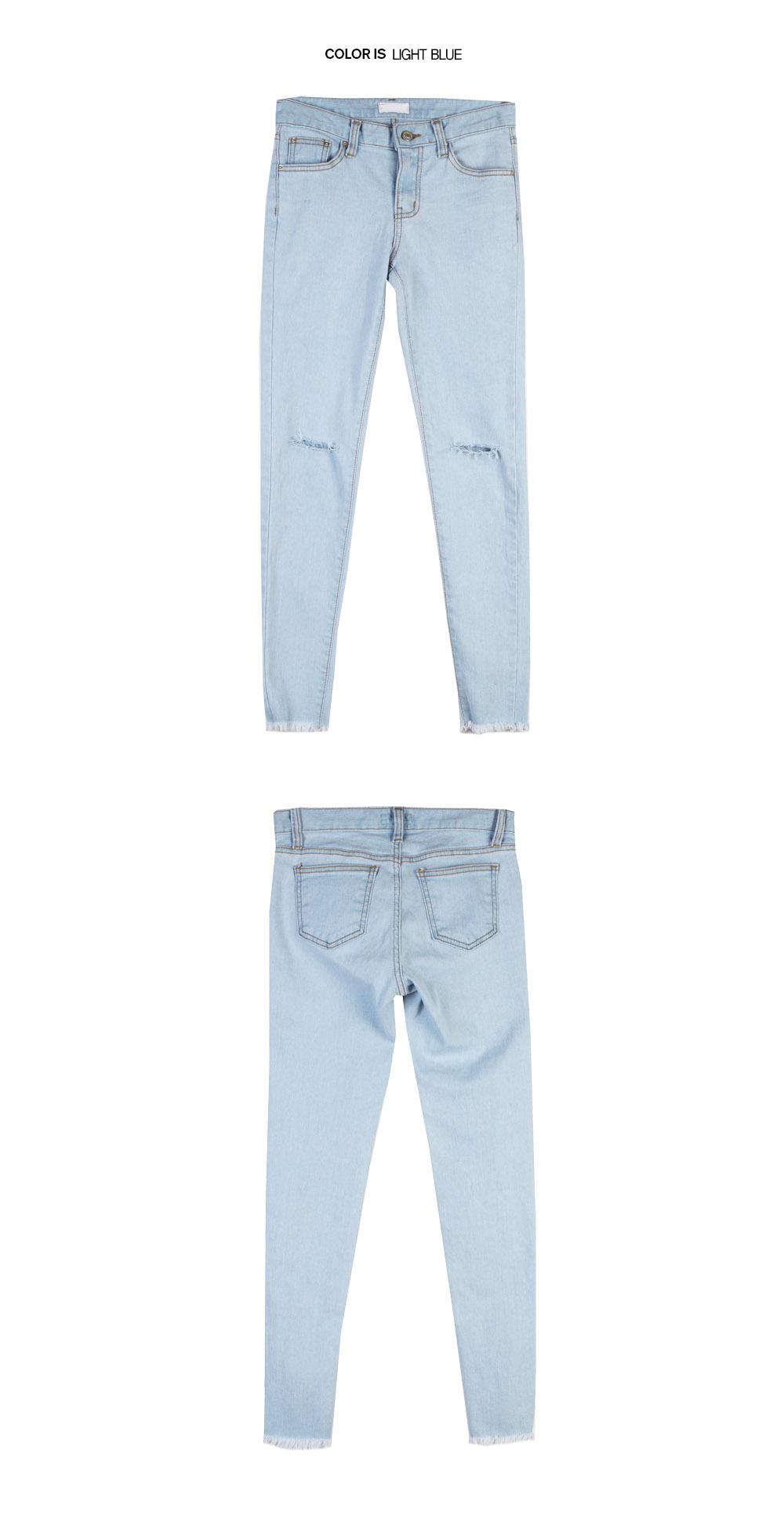 Vintage Blue Knee-Slit Skinny Jeans