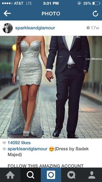 dress silver sequin dress prom dress coat earphones prom