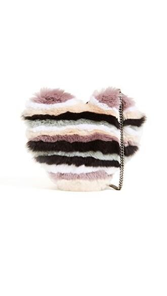 cross heart fur bag