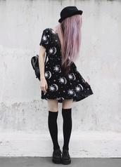 pastel goth,goth,grunge,soft grunge,alien creature,hot,sun,creepers,swag,creepy cute,pastel pink,hair,nu goth,metal,galaxy print,sun print,super hot,trendy,instagram,so tumblr,tumblr dress,hella 90's,fine,dope,knee high socks,platform shoes,formal,formal goth,tumblr outfit,socks,dress,black,hat,style,hairstyles,bag,shoes,vintage,motel rocks,moon,grunge wishlist,hair accessory,rucksack,cute,black dress,black boots,sexy dress,white,pattern,cardigan,dress to kiill,hipster,coloured hair,alternative,hipster dress,space,planets,pale,purple,constellation,black and white dress,goth dress,grunge dress,tumblr,little black dress,universe,universe dress,moons and stars,moon and sun,it girl shop,casual,girly,celestial,pretty,top,boho dress,mini dress,summer,fashion,short dress,skater dress,boogzel