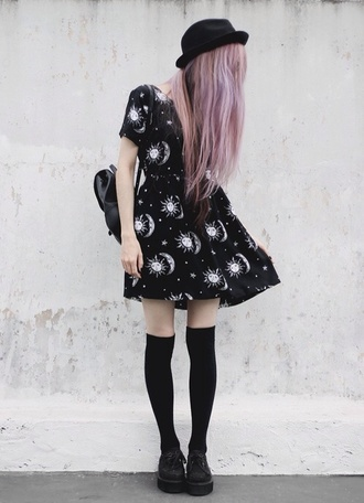 pastel goth goth grunge 90s style soft grunge alien creature hot sun creepers swag swag fag jordan's creepy cute kawaii dress hella cute sundress pastel pink hair nu goth metal nu metal all black everything cute as heck tips stars galaxy print sun print super hot trendy instagram so tumblr tumblr dress hella 90's fine dope knee high socks platform shoes formal formal goth tumblr outfit socks