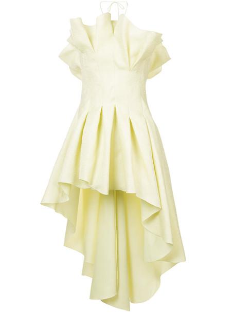 Rosie Assoulin gown ruffle women silk yellow orange dress