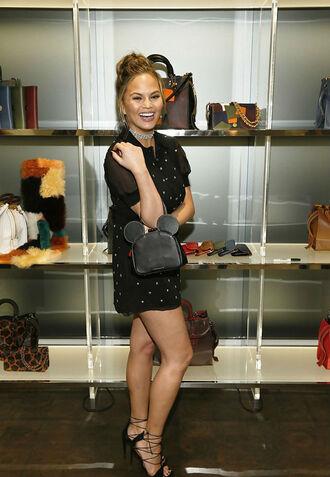 dress mini dress purse sandals chrissy teigen shoes black dress
