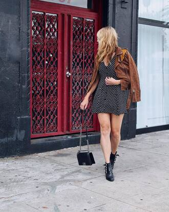 jacket brown jacket tumblr suede suede jacket dress mini dress boots ankle boots bag black bag