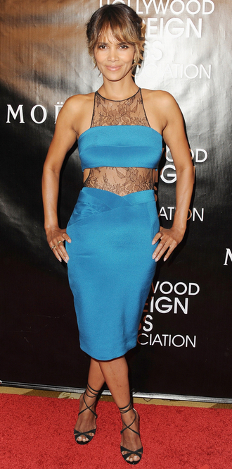 dress halle berry lace dress sandals shoes teal