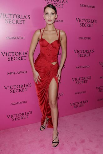 dress red dress red slit dress sandals bella hadid model victoria's secret model victoria's secret shoes