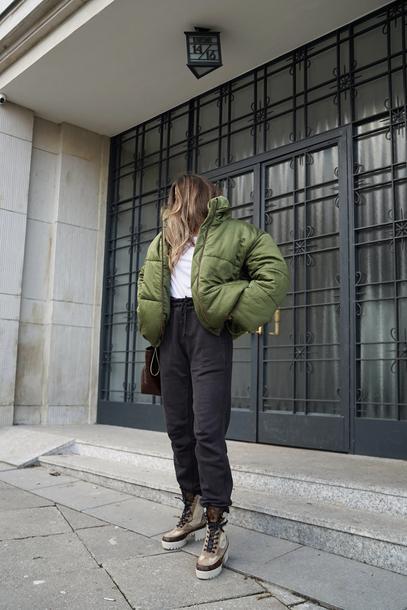jacket tumblr bomber jacket green jacket puffer jacket pants black pants sweatpants boots