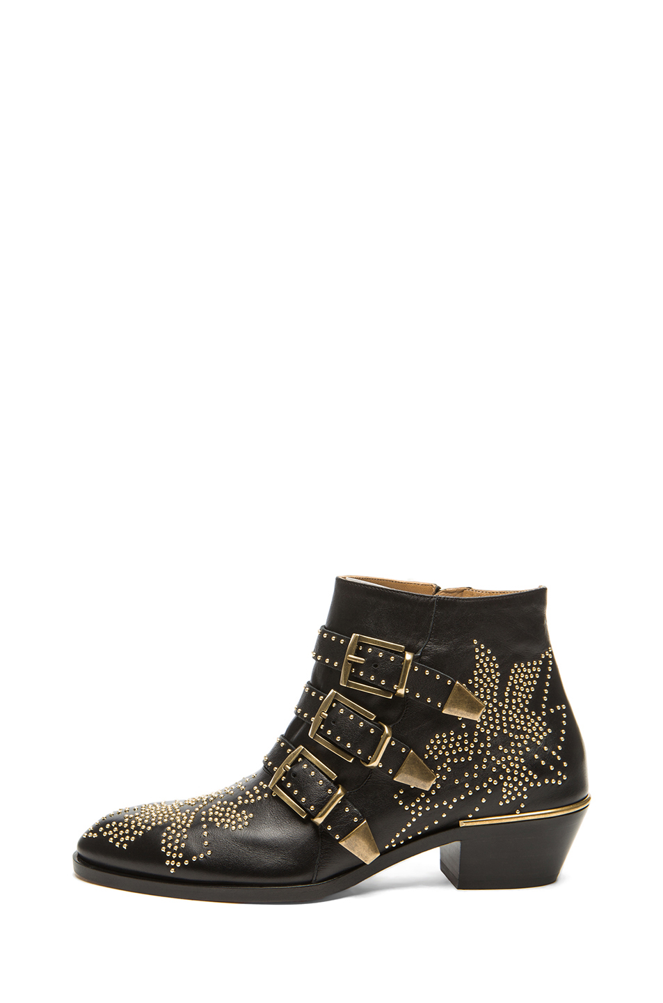Chloe|Susanna Leather Studded Booties in Black