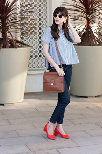 jeans and a teacup blogger shirt shoes bag sunglasses jewels fall outfits blue shirt red shoes mid heel pumps brown bag