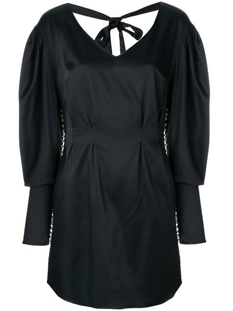Magda Butrym dress back women pearl black silk