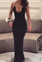 dress,black,prom,homecoming,long,lace