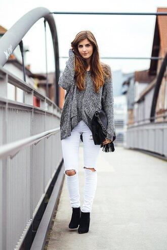 sweater grey oversized sweater white ripped jeans black handbag black heels blogger jeans