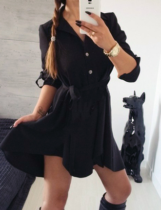 dress black dress summer dress cute dress hipster wishlist streetwear streetstyle casual casual dress casual chic outfit outfit idea tumblr outfit fall outfits shirt dress