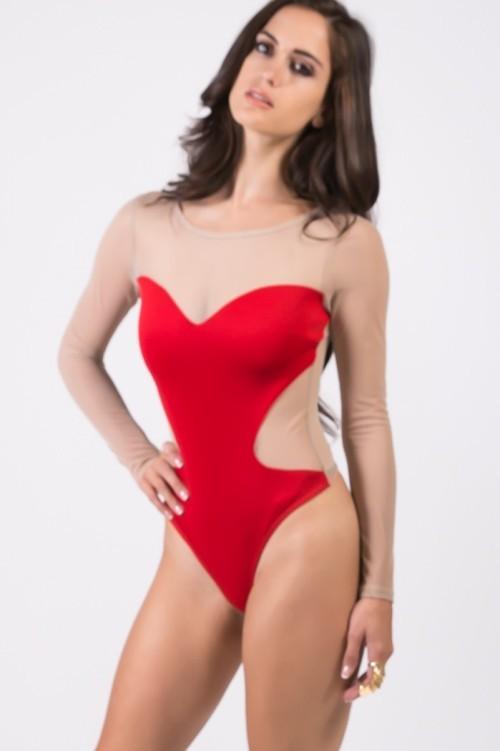 Lethalbeauty ? red sweetheart sheer mesh bodysuut