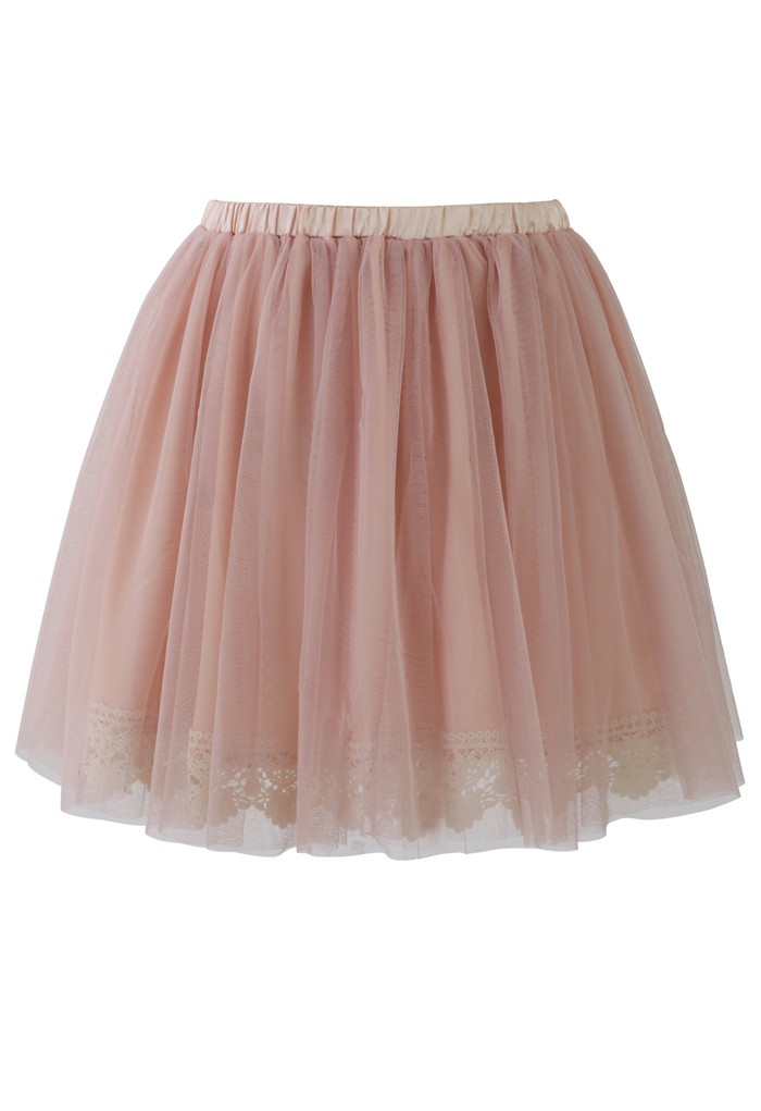 c69e2a0307d4 Pink Mini Skirt - Pink Tulle Skirt with Lace   UsTrendy