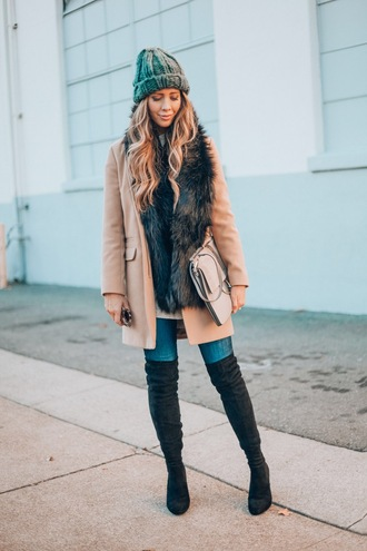 thegirlintheyellow dress blogger coat sweater jeans shoes bag hat sunglasses scarf beanie beige coat boots winter outfits