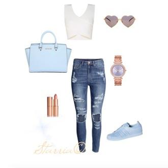 jeans top crop tops