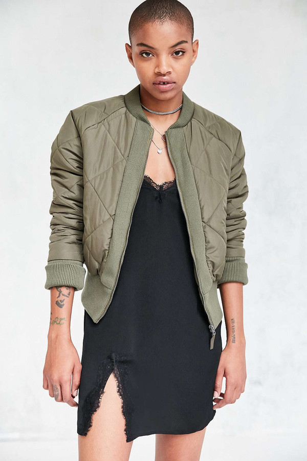 Silence Noise Diamond Quilted Bomber Jacket - Urban Outfitters